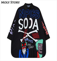 Fashion New Harajuku Shirt Women Punk Rock Long Sleeve Shirts Plus Size Loose Black Blouse Top
