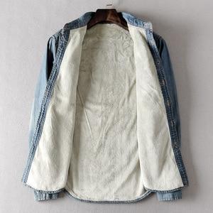 Image 4 - 新しい冬厚いデニムシャツ長袖暖かいジーンズシャツソフト快適なスリムフィットターンダウン襟冬服
