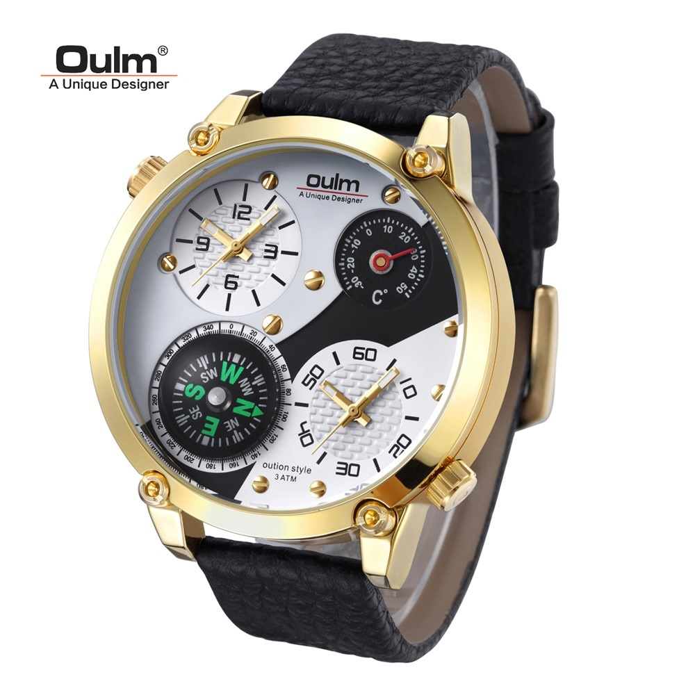 TEAROKE Oulm Men Wristwatch Quartz Watch Genuine Leather Dual Time Zone Male Military Sports Clock Compass Thermometer Big Dial thermometer watch compass watch two time zone display dual movt quartz watch for men oulm 1349