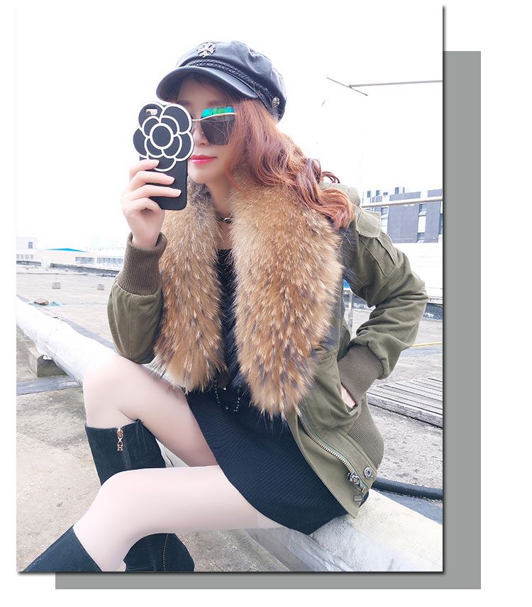 women cotton Flight suit jacket with real fur collar (6)