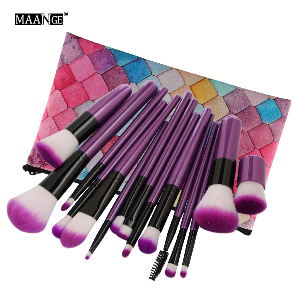 MAANGE 15Pcs/set Makeup Brushes Set  Foundation Powder Eyeshadow Cosmetic Tools Lip Eyeliner Eyes Beauty Makeup Brushes Kits Bag new 32 pcs makeup brush set powder foundation eyeshadow eyeliner lip cosmetic brushes kit beauty tools fm88