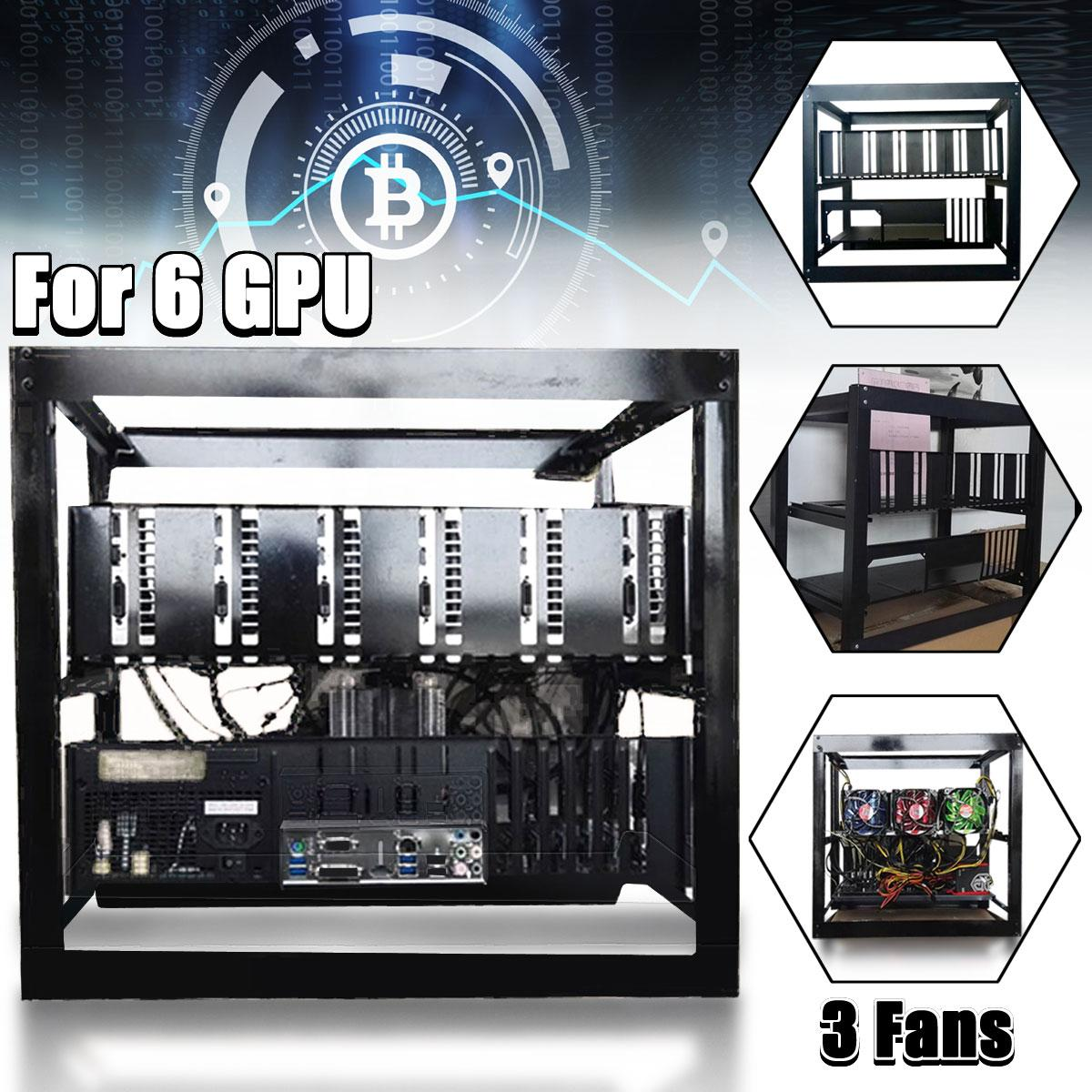 6GPU Open Air Frame Mining Miner Rig Case with 3 LED Fans for ETH BTC Ethereum DIY Mining Machine