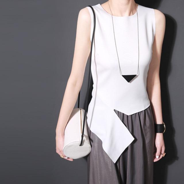 2018 Summer Sexy Women Soft Loose Sling Irregular Cut Bottoming Basic Vest Sleeveless Elastic OL Lady Top Tank
