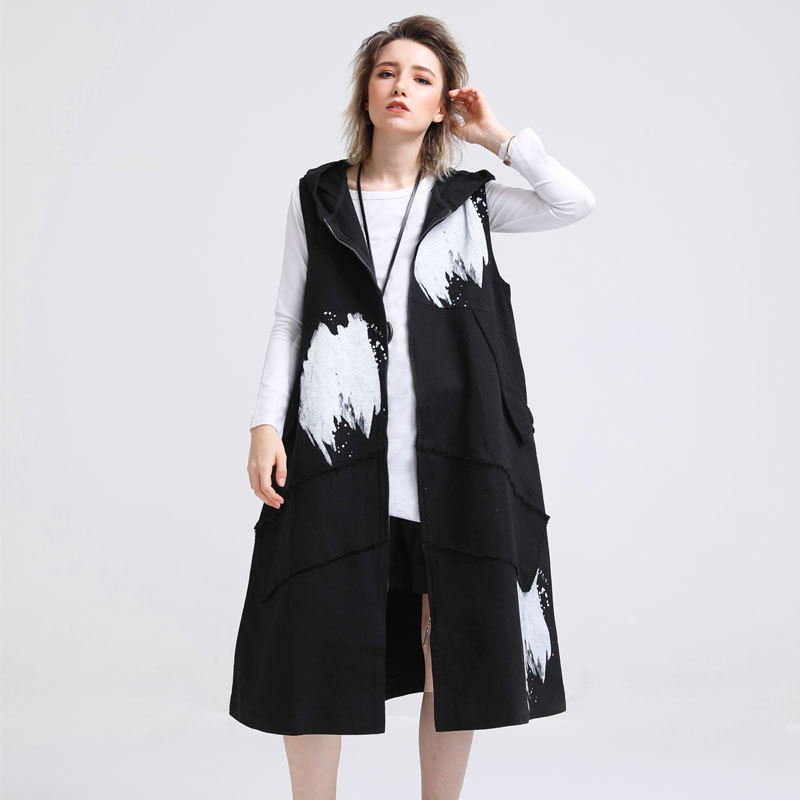 2018 Autumn Fashion Women Streetwear Plus size Sleeveless Hooded Trench Coat Zipper Outwear Waistcoat Printed Long Vest Outfit