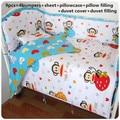 2016! 6/7 unids Sheet100 % algodón Bebé juego de cama cuna cama de Dibujos Animados Infantil Habitación ropa de cama Funda Nórdica, 120*60/120*70 cm