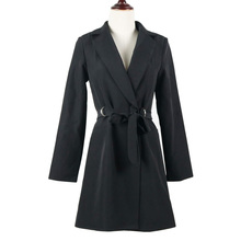 Full Sleeve V Neck Slim Long Blazer Coat