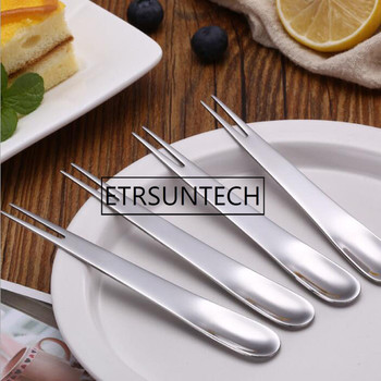 200pcs/lot Stainless Steel 2-tined Ice Dessert Cake Fruit Each Head For Spoon Or Fork For Children Or Adult Tableware