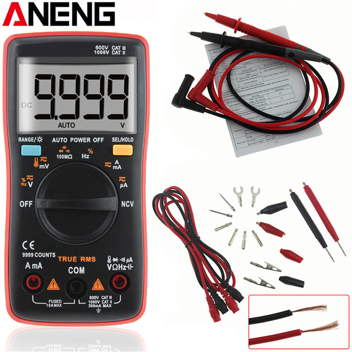 ANENG AN8009 Auto Range Digital Multimeter 9999 Counts Backlight AC/DC Ammeter Voltmeter Ohm Transistor Tester Multi Meter aneng an8201 pocket size mini digital multimeter backlight ac dc ammeter voltmeter ohm electrical tester portable 1999 counts