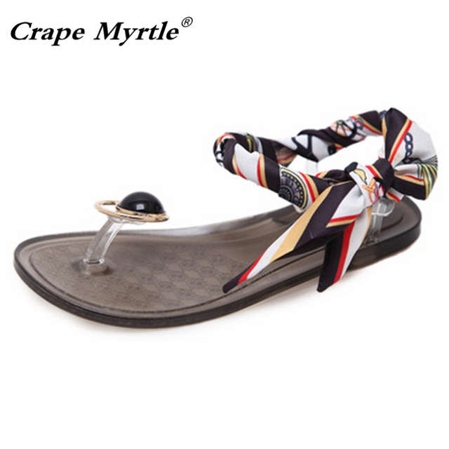 56443a8617394 2019 Summer Jelly Shoes Designer Women Flat Sandals Color Ribbon Bowknot  Slippers Casual Transparent Beach Clip