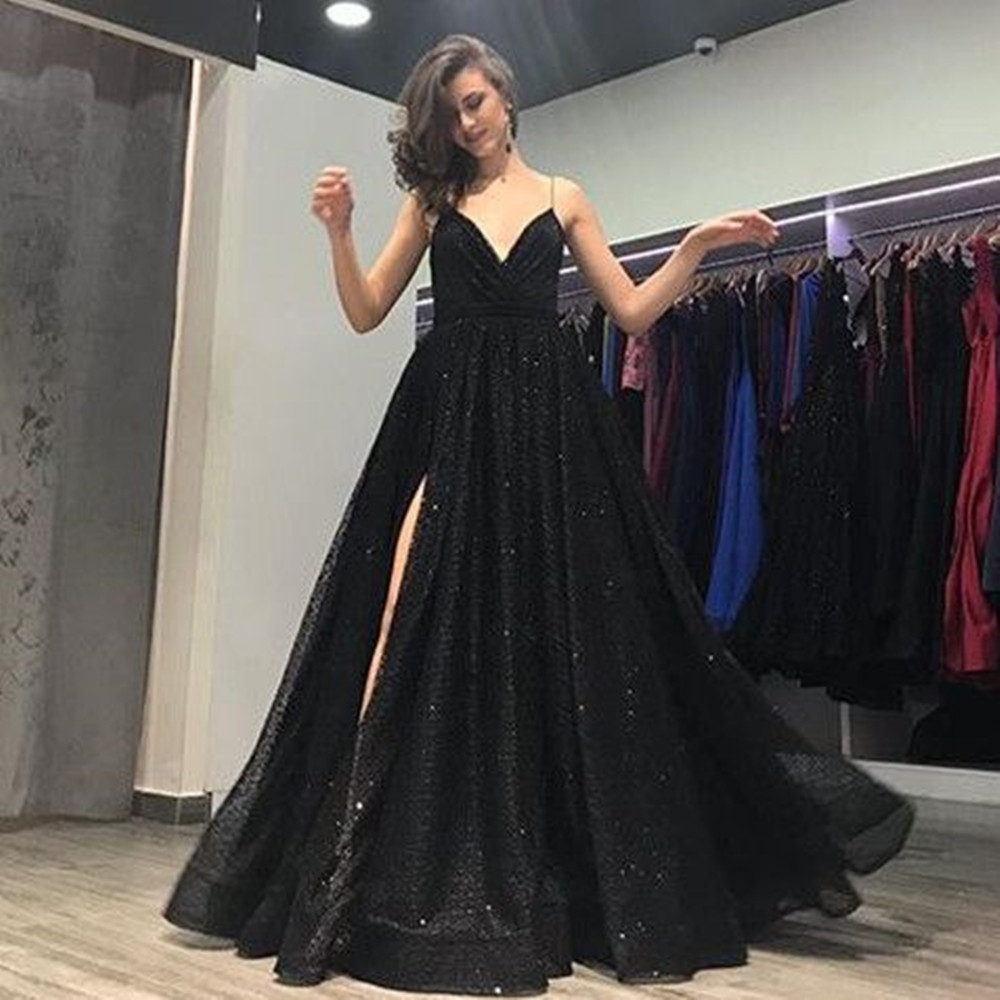 Sparkly Black Sequin   Evening     Dresses   Backless Spaghetti Strap Sexy Women Prom Gowns Formal   Dresses   Long 2019