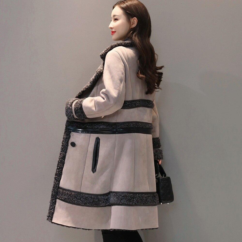 Модная замшевая куртка, Женское пальто, съемная Вельветовая длинная куртка, элегантная тонкая утепленная куртка размера плюс, зимняя куртка с длинным рукавом Q633 - 5