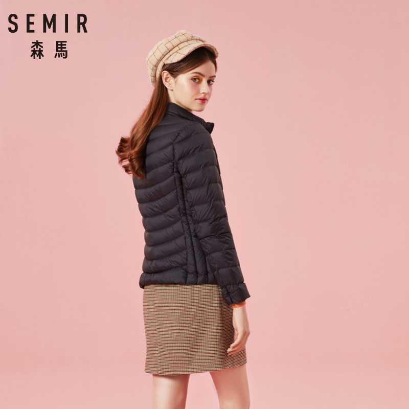 をセミール 2019 冬のジャケットの女性綿ショートジャケット新ダウンフード付き暖かいパーカー秋スリムコート女性カジュアルトップス