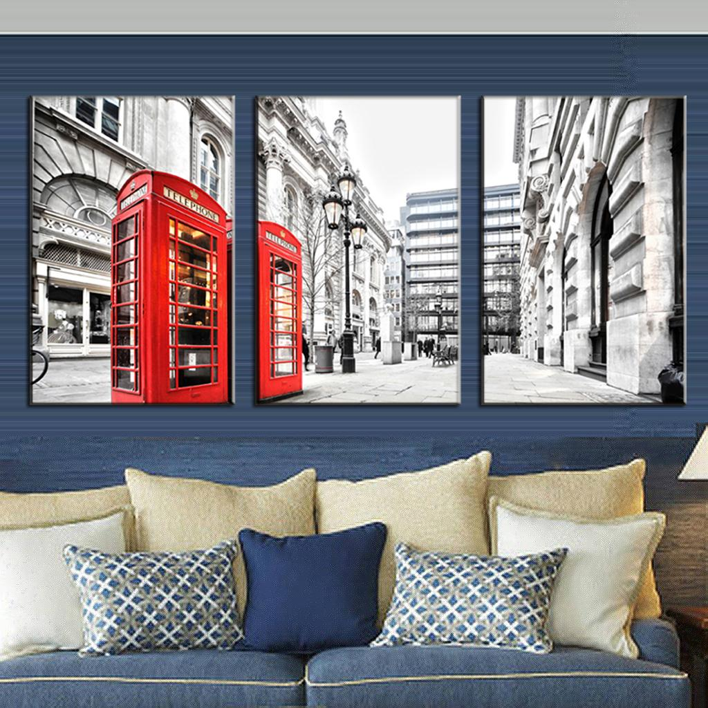 aliexpresscom  buy  pcsset modern wall paintings canvas prints  - aliexpresscom  buy  pcsset modern wall paintings canvas prints londonred telephone box canvas picture wall art top home decoration from reliableoil