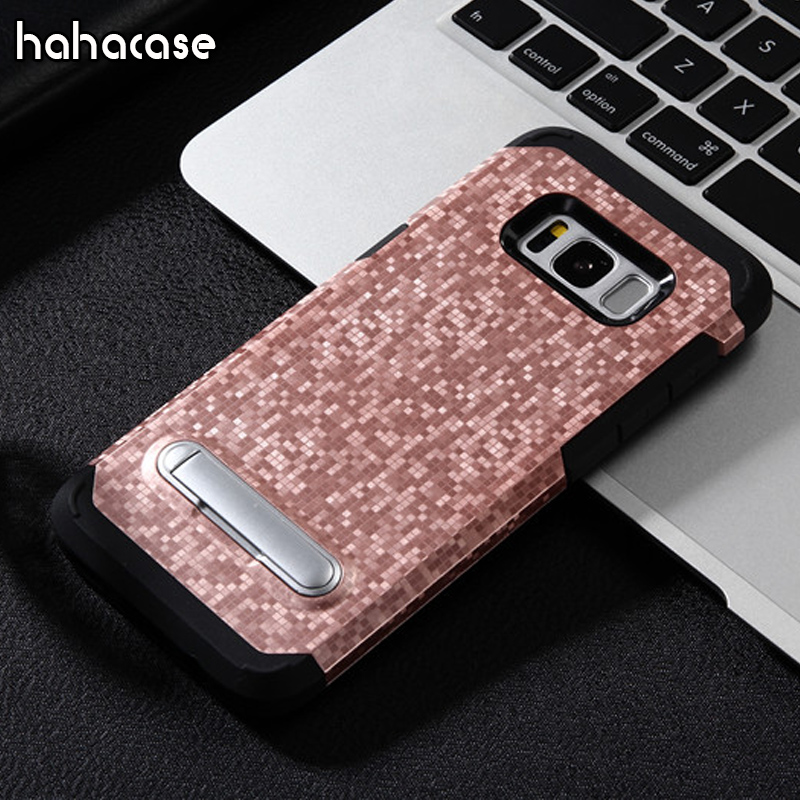 50pcs Mosaic Pattern 2 in 1 Magnetic Case For Samsung S8 Plus S7 Edge Note 8 A3 5 7 2017 J3 US Phone Case Armor Kickstand Cover