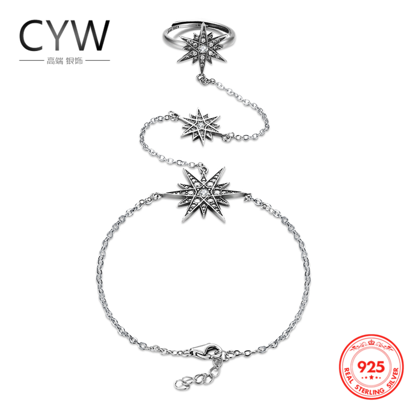 CYW 925 Sterling Silver Jewelry Punk Style Cubic Zirconia Stars Hand Ring Bracelet Thai Old Silver Bracelets for Women