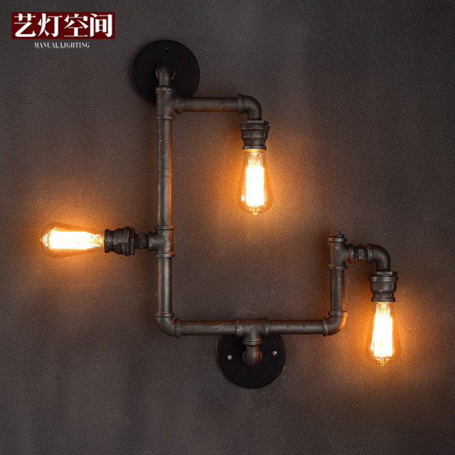 3 Heads Modern Creative Personality Contracted Iron Water Pipe Balcony Wall Lamp Coffee Shop Decoration Light Free Shipping