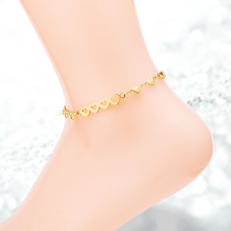Fashion Heart To Heart Rose Gold Color / Gold Color / Silver Color Stainless Steel Anklets