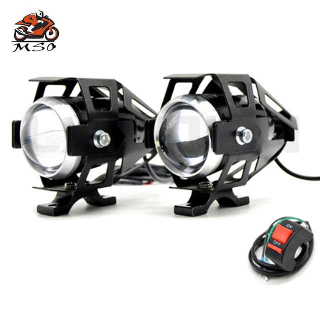 For Honda CBR600F CBR600RR CBR900RR CBR929RR GROM Universal 12V Motorcycle Metal Headlight Driving Spot Head Lamp Fog Light