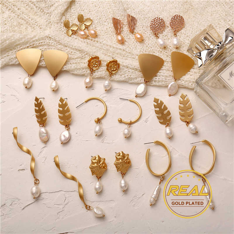 IF YOU Fashion Korean Dangle Earrings For Women Girl Vintage Geometric Natural Freshwater Pearl Drop Earring Gold Color 2019 New