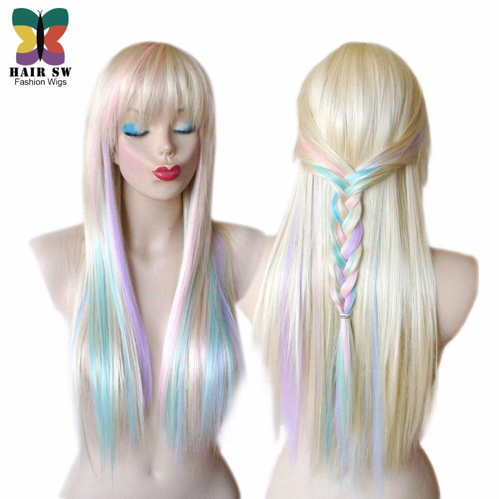 blonde pastel couleur faits saillants arc en perruque multi color perruque longue ligne droite - Perruque Colore