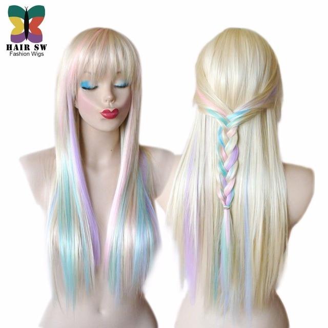 blonde pastell farbe highlights regenbogen perà cke multi bunte