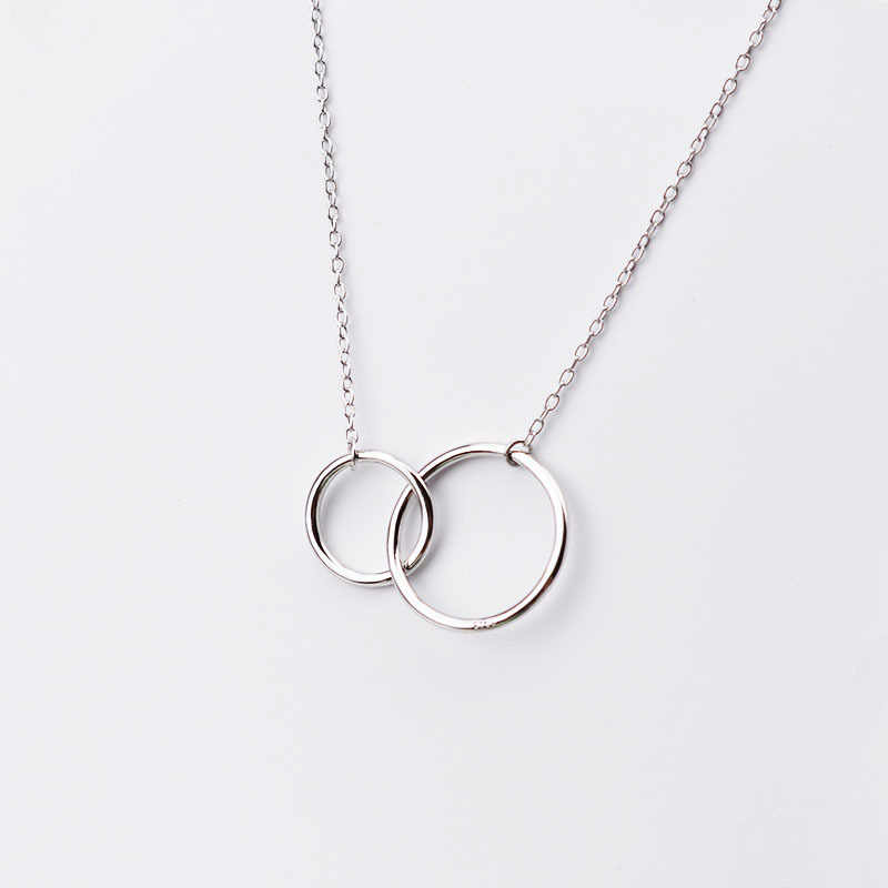 XIYANIKE Double Circle Interlock Clavicle Short Necklace 925 Sterling Silver Necklace For Women collares erkek kolye New VNS8016