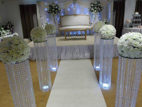10PCS Crystal Wedding Pillar Metal Stand With Acrylic Bead 100cm475
