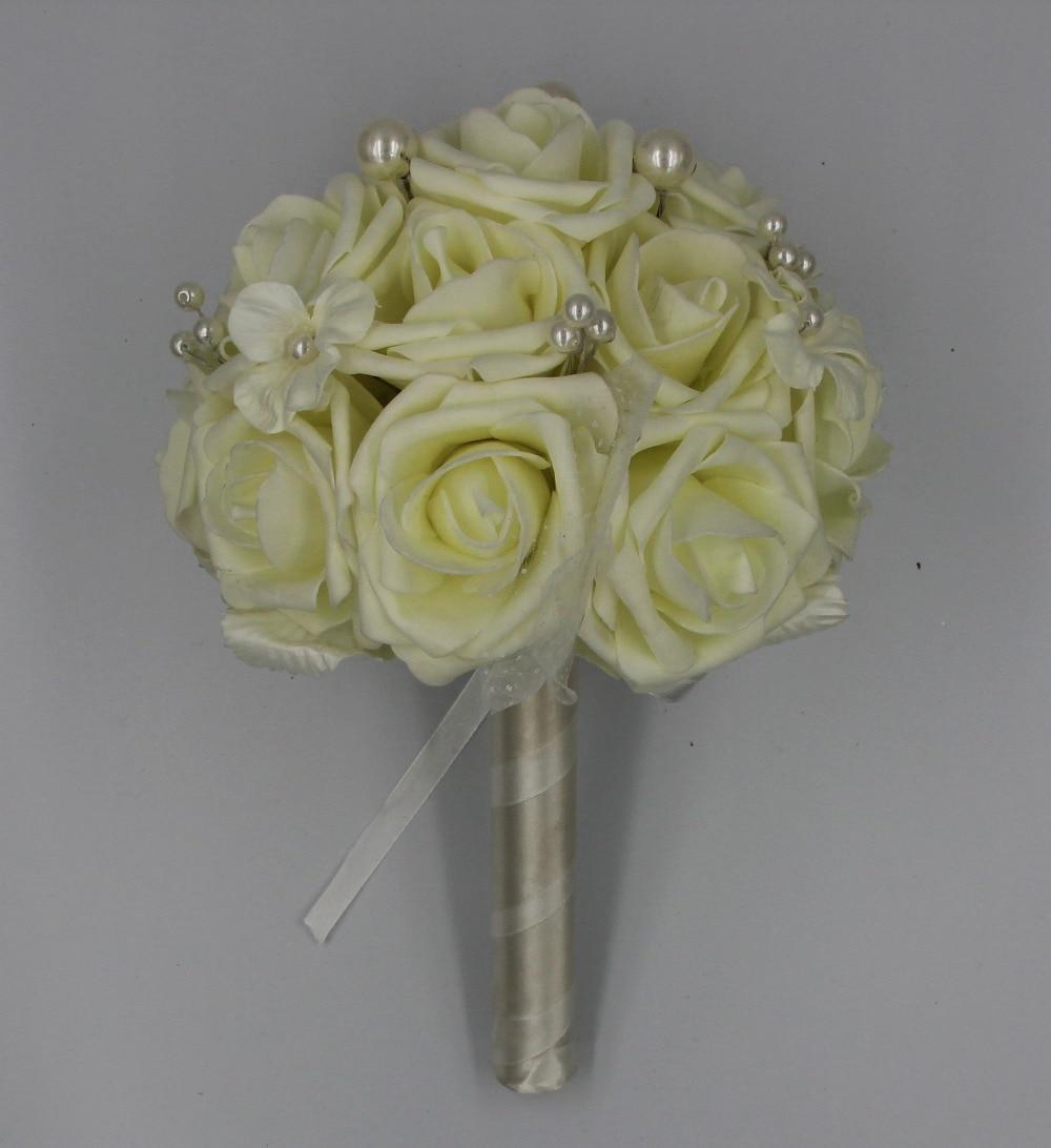Acheter Fleurs artificielles 9 pouces Mousse Rose Bouquet Avec Perles, Blanc Rose de Demoiselle D'honneur De Mariage De Fleur Bouquet De Mariée Bouquet de rose bouquet fiable fournisseurs