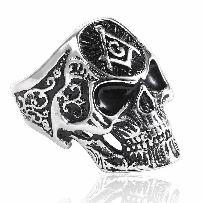 Кольцо в стиле хип-хоп с масонским черепом, мужское кольцо в стиле панк, масонское кольцо для мужчин, серебряное кольцо с печаткой