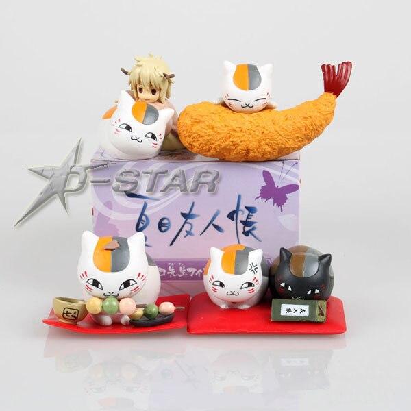 "Free Shipping 4pcs 3"" Natsume's Book of Friends Anime Natsume Yuujinchou Nyanko Sensei Cat PVC Figure Model Toy (4pcs per set)"