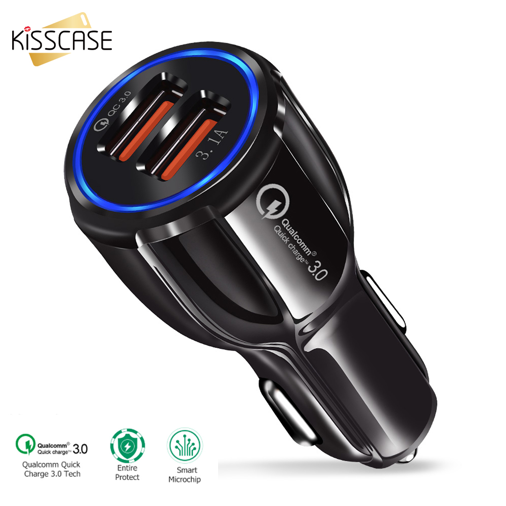 KISSCASE QC 3.0 Super Car USB Charger Mobile Phone Charger Dual USB Fast Car Charger For IPhone Samsung Huawei Chargers