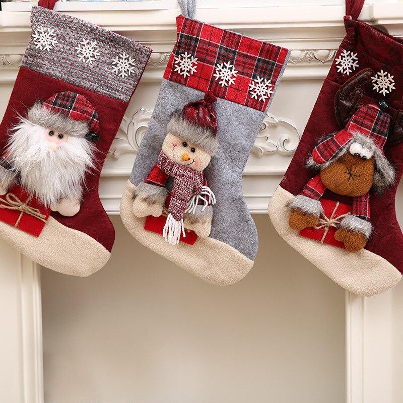 Christmas Stocking Santa Socks Christmas Gift Bags For Kids Christmas Decoration For Home Xmas Tree Hanging Decor Navidad 2017