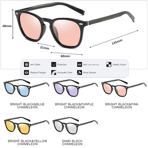 Image 5 - Brand Design Intelligent Photochromic Sunglasses Women Polarized Men Driving  Sun Glasses Pink Tinted color lunette soleil femme