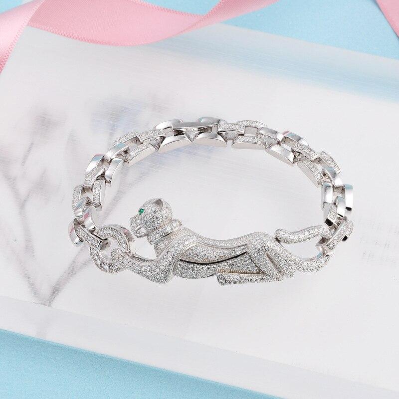 Marque Pure 925 bijoux en argent Sterling ensemble pour femmes panthère bracelet anneau ensemble célèbre marque cubique zircone Animal fête bijoux