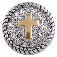 New Fashion Ginger Cross Snaps Jewelry metal Rhinestone Snap Button For DIY Snap Button Jewelry Partnerbeads jewelry KC5112