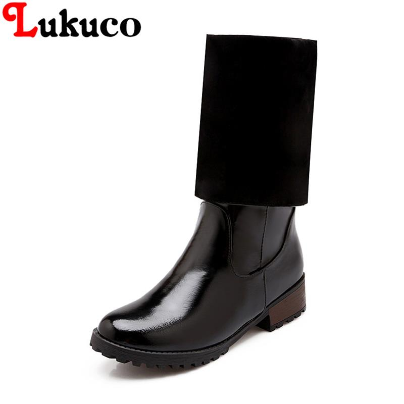 2018 fashion mid-calf boots round toe 38 39 40 41 42 43 44 45 46 47 women boots high quality shoes real pictures free shipping