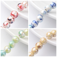1Strand 8mm Handmade Porcelain Ceramic Jewelry Making DIY Round Beads Strand, Pearlized, Hole: 2mm; about 36~40pcs/strand, 12.5