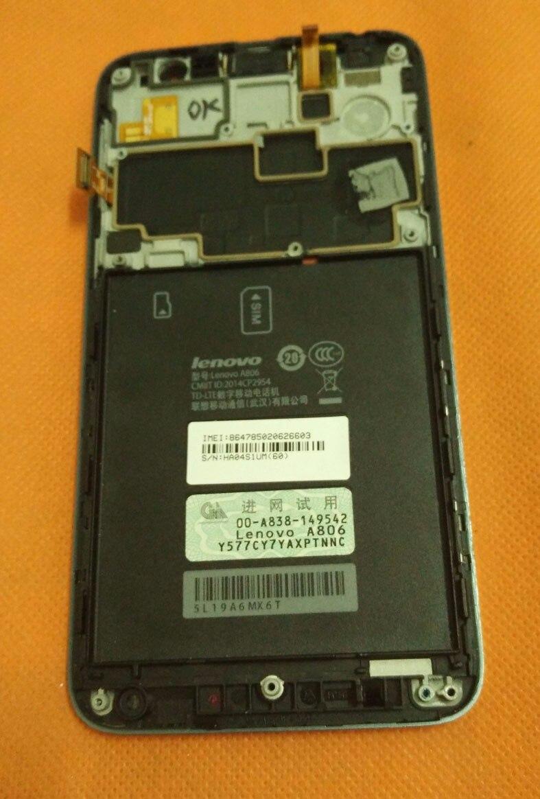 bilder für Original LCD Display + Touch Screen + Rahmen Für Lenovo A806 A8 4G MTK6592 2G RAM 16G ROM 5,0 ''HD FDD LTE Freies shiping