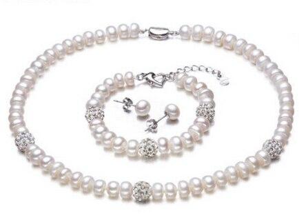 Charme Jew.657 d'eau douce perle strass bib collier bracelet boucle d'oreille ensemble blanc rondelle (A0516)