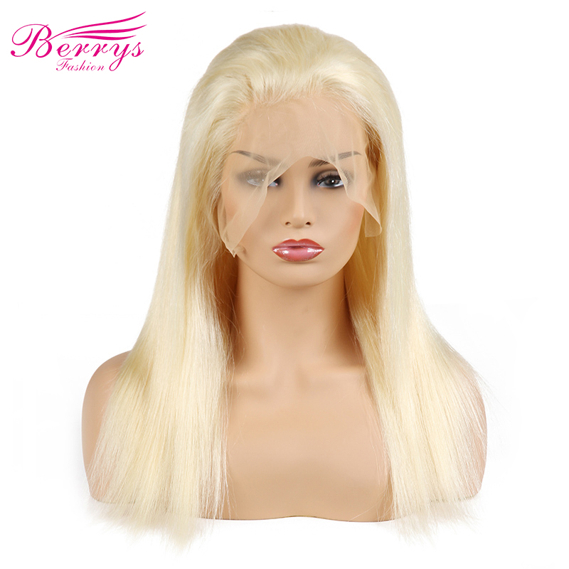[Berrys Fashion] Full Lace Human Hair Wigs Straight 130% Density Natural Hairline Free Part Peruvian Remy Hair(China)