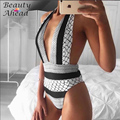 Hottest ! Sexy One Piece Bodysuit print Sportswear Playsuit High Waist Monokini Women Backless beach playsuit Sportswear