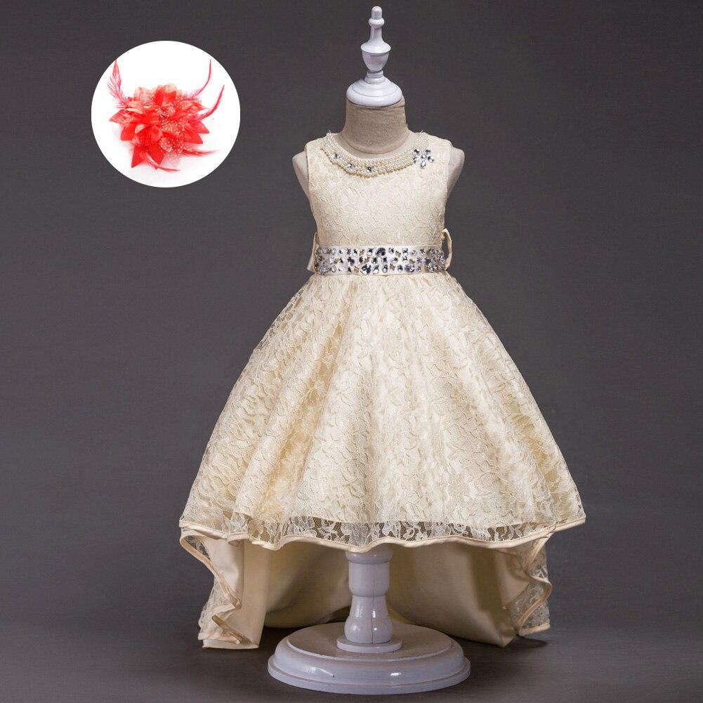Дизайнерская одежда высокого качества для детей, 2019-эксклюзивные платья, детские вечерние платья для девочек, красное, синее, бежевое круже...