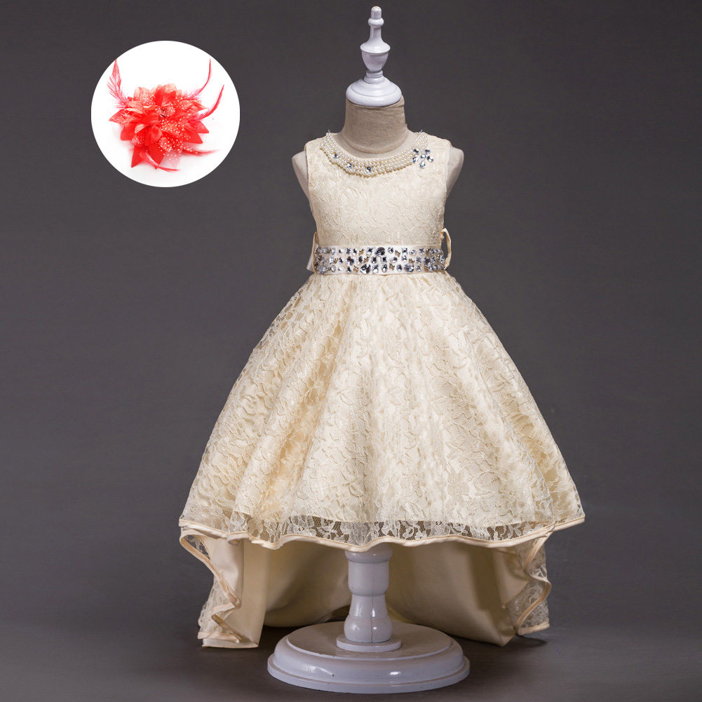 Designer High Quality Clothes for Children 2018-boutique-dresses Kid Evening Party Dresses for Girl Red Blue Beige Lace Dress