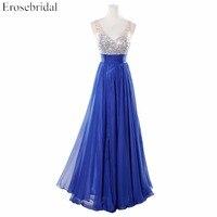 Real Image V-Neck Evening Dress with Crystal In Stock Sleeveless A-Line 2017 Long Formal Dress vestido de festa YY902