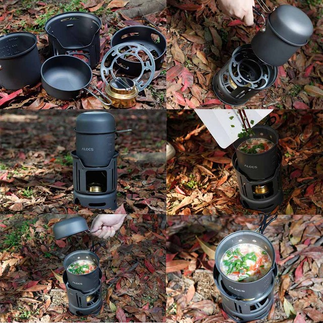 7pcs Outdoor Camping Cooking Set Portable Stove Camping Cookware Pots Bowl Cooker Stove Picnic BBQ Travel 1-2Person