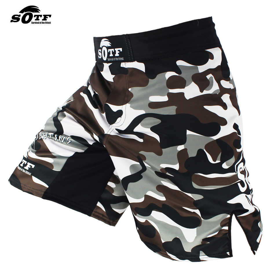 Sotf Mannen Boksen Broek Afdrukken Mma Fight Shorts Grappling Korte Polyester Kick Gel Boksen Muay Thai Broek Thai Boksen shorts