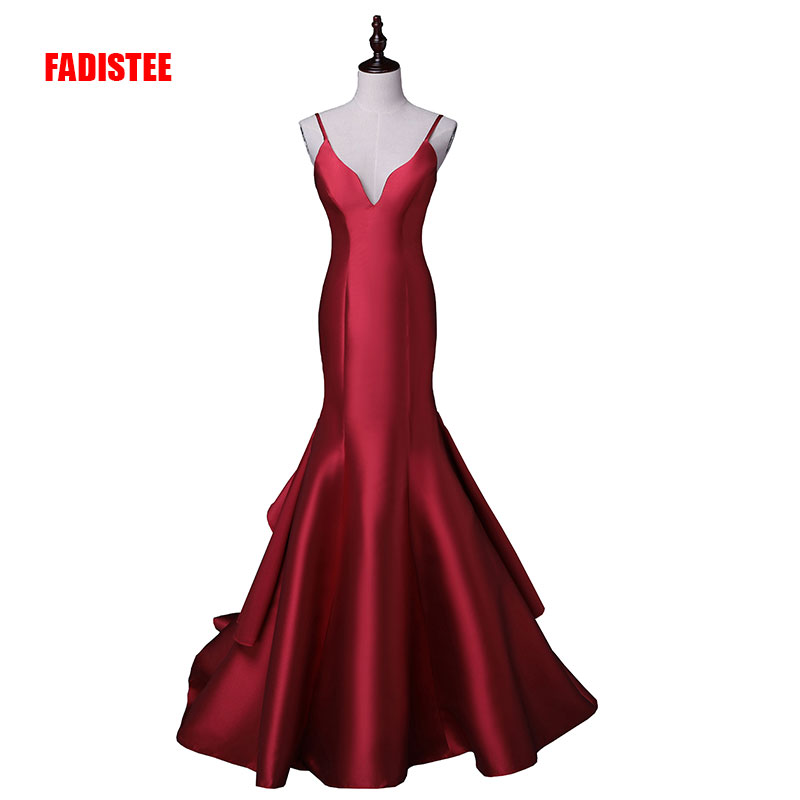 New Arrival Sexy  Evening Party Dresses Satin Long Gown Vestido De Festa Spaghetti V-neck Sweep Train  Dress