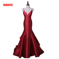 New arrival sexy evening party Dresses satin long gown Vestido de Festa spaghetti V neck sweep train dress