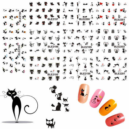 11 Design in 1 Black Cute Cat Design Water Transfer Nail Art Stickers Decoration Manicure Foil Wraps Decals SABLE2193-2203