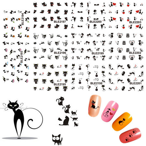 11 Design in 1 Black Cute Cat Design Water Transfer Nail Art Stickers Decoration Manicure Foil Wraps Decals SABLE2193-2203 gd4 1 20g bag cute laser black star nail art shinny glitter cute decoration nail art decoration